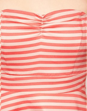 Image 3 ofVila Stripe Bandeau Fit and Flare Dress