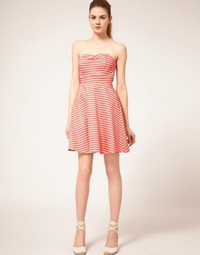 Image 4 ofVila Stripe Bandeau Fit and Flare Dress