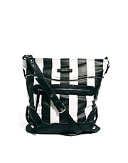 River Island Stripe Zip Front Messenger Bag