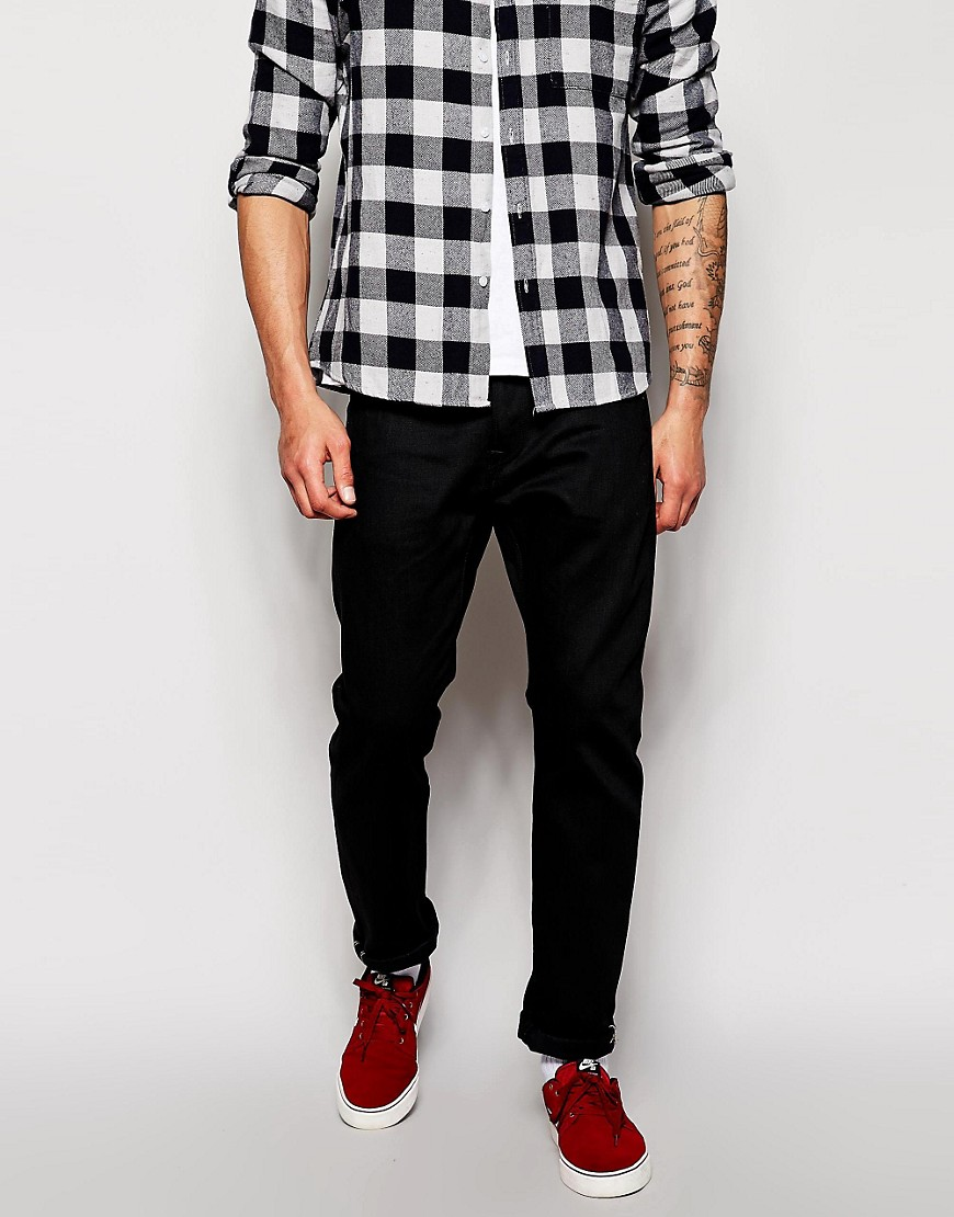Product photo of Edwin jeans ed55 relaxed tapered fit white listed black selvedge black