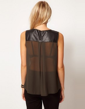 Image 2 ofOasis Leather Look Trim Shell Top