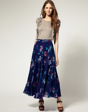 Image 1 ofFrench Connection Sweet Pea Print Maxi Skirt