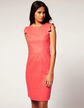 Image 1 ofASOS Linen Pencil Dress with Square Sleeve
