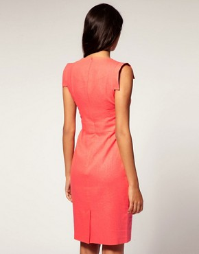 Image 2 ofASOS Linen Pencil Dress with Square Sleeve