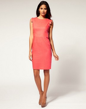 Image 4 ofASOS Linen Pencil Dress with Square Sleeve