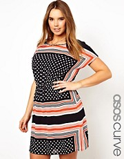 ASOS CURVE Skater Dress In Spot And Stripe