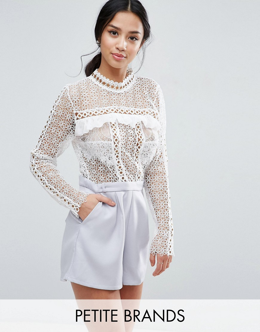 Product photo of True decadence petite lace top playsuit with eyelet detail multi
