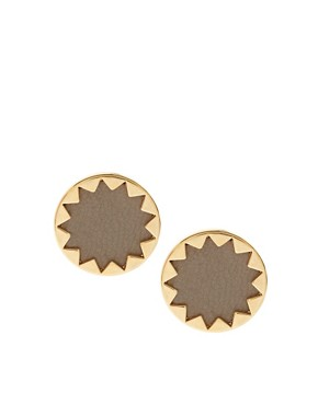 Image 1 ofHouse of Harlow 1960 14ct Yell Gold Plated Sunburst Button Earrings