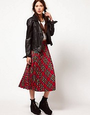 b + ab Check Midi Skirt