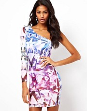 ASOS One Sleeve Dress In Jewel Print