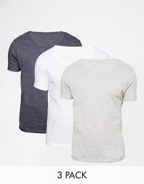 ASOS T-Shirt With Scoop Neck 3 Pack SAVE 17%