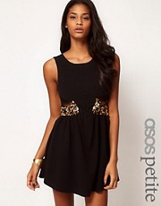 ASOS PETITE Exclusive Dress With Cut Out Sides And Embellishment