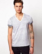 ASOS Stripe T-Shirt With V Neck
