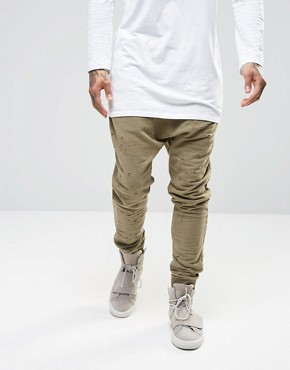 Granted Drop Crotch Joggers With Distressing