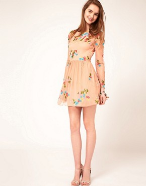 Image 4 ofASOS Skater Dress With Embellishment