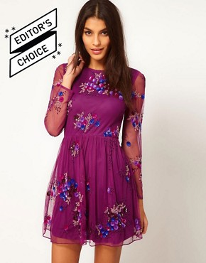 Image 1 ofASOS Skater Dress With Embellishment