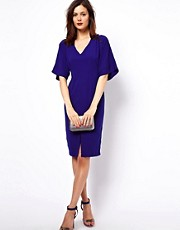 ASOS Pencil Dress With V Neck And Batwing Sleeves
