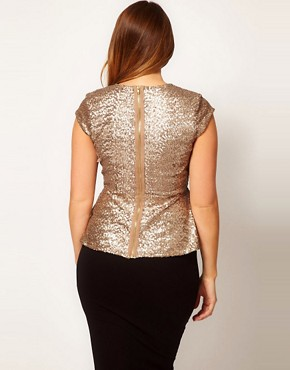 Image 2 ofASOS CURVE Peplum Top In Sequin