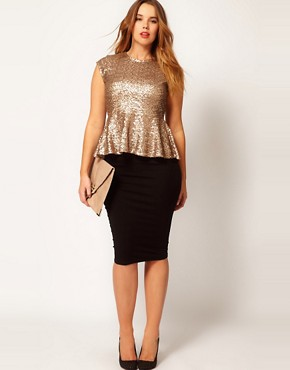 Image 4 ofASOS CURVE Peplum Top In Sequin