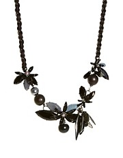 Les Nereides Jet Floral Statement Necklace