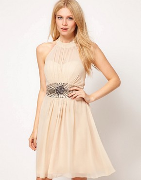 Image 1 ofLittle Mistress High Neck Embellished Waist Dress