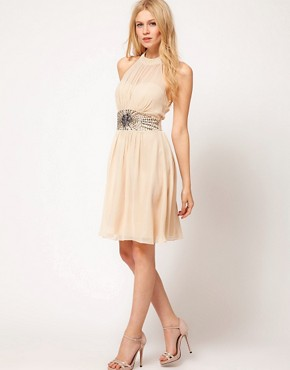 Image 4 ofLittle Mistress High Neck Embellished Waist Dress