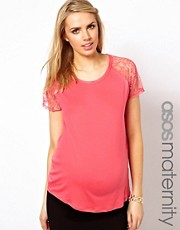 ASOS Maternity Exclusive T-Shirt With Raglan Lace Sleeve