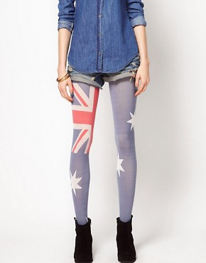 Image 1 ofHouse of Holland For Pretty Polly Australia Flag Tights