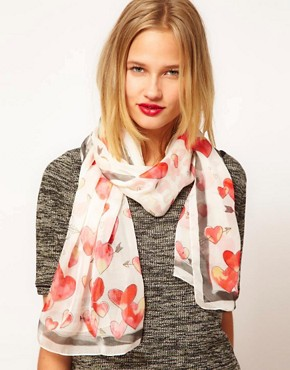 Image 1 ofMoschino Cheap &amp; Chic So Many Hearts So Little Time Scarf