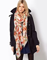 ASOS Skull And Floral Scarf With Pearl Print