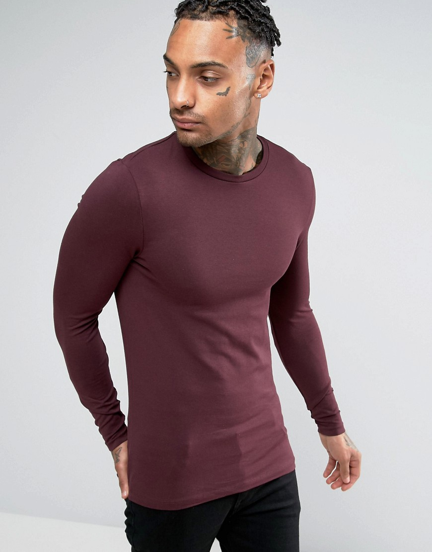 ASOS Extreme Muscle Long Sleeve T-Shirt With Crew Neck In Red - Red