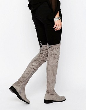 Public Desire Grey Flat Tie Back Over The Knee Boot
