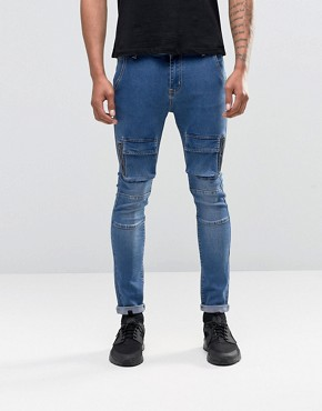 Liquor & Poker Cargo Jeans In Skinny Fit