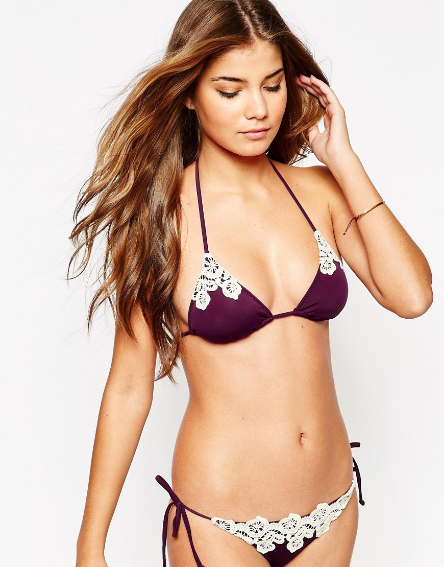 ASOS Crochet Applique Trim Triangle Bikini Top - Purple