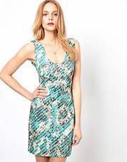 Love Snake Print Bodycon Dress