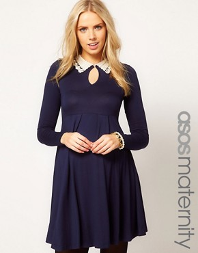 Image 1 ofASOS Maternity Skater Dress With Peter Pan Crochet And Beaded Collar