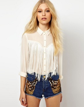 Image 1 ofRiver Island Fringed Western Shirt
