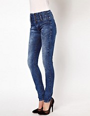ASOS High Waist Corset Skinny Jeans in Mottled Vintage Wash