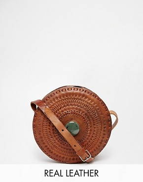 Hiptipico Mani Hand Crafted Leather Circle Cross Body