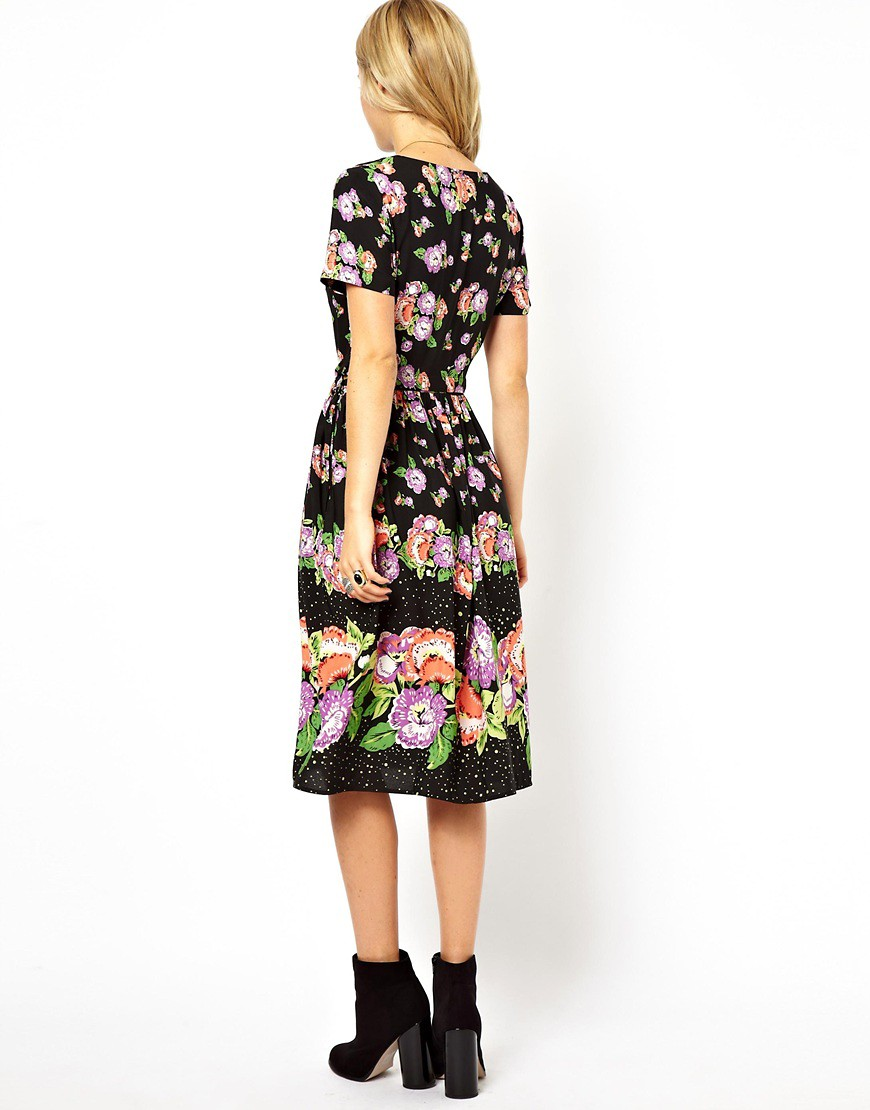 Image 2 of ASOS Skater Dress In Floral Print With Button Off Skirt