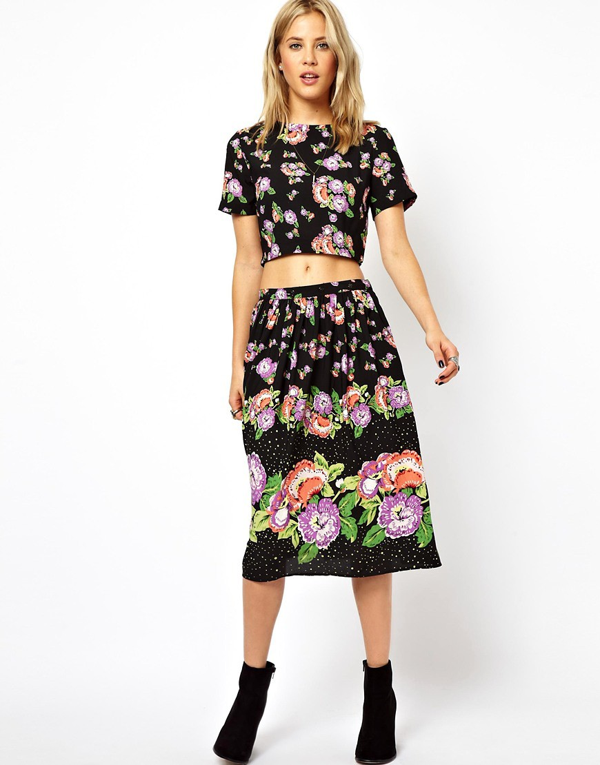 Image 4 of ASOS Skater Dress In Floral Print With Button Off Skirt