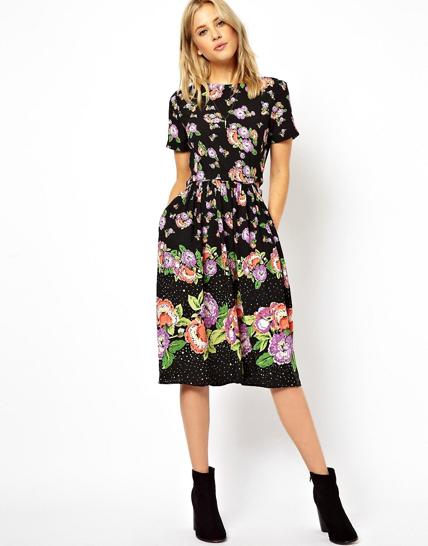 Image 1 of ASOS Skater Dress In Floral Print With Button Off Skirt