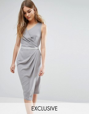 Closet Wrap Front Knee Length Midi Pencil Dress