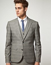 ASOS Slim Fit Check Suit Jacket in Grey