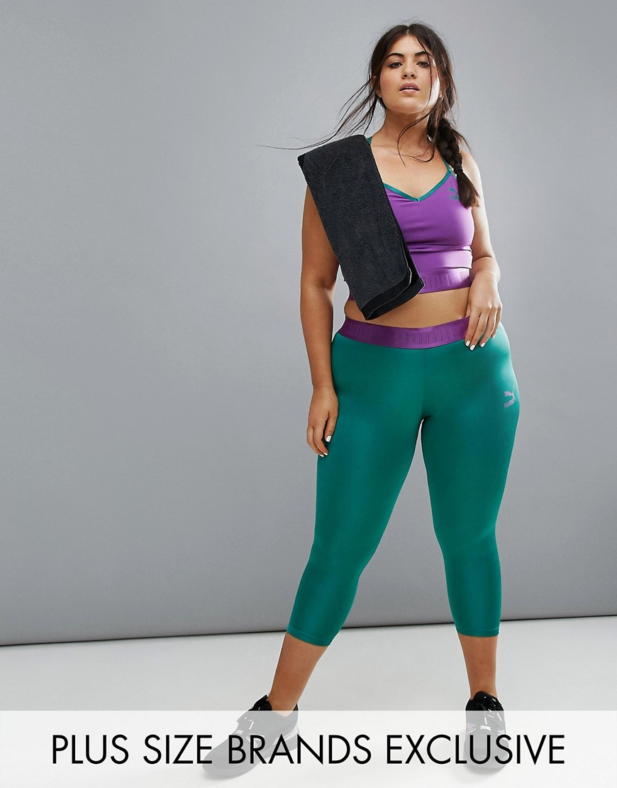 Puma Exclusive To ASOS Plus Capri Active Leggings - Green