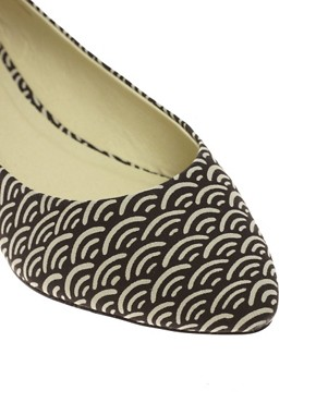 Image 2 ofASOS LUCKY Geo Print Point Ballet Flats