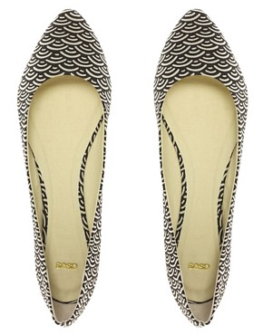 Image 3 ofASOS LUCKY Geo Print Point Ballet Flats