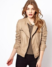Oasis Leather Look Jacket With Borg Lining
