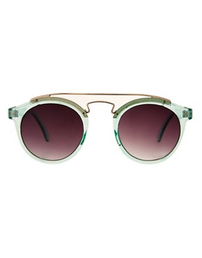 Image 2 ofASOS Round Sunglasses With Metal Bridge Detail