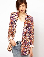 Just Female &ndash; Legerer Blazer mit farbigem Leopardenmuster